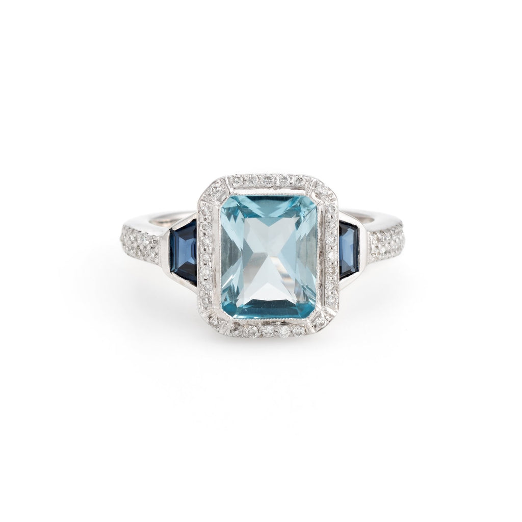 Blue Topaz Sapphire Diamond Ring Estate 18k White Gold Alternative Engagement 5