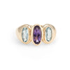 Vintage 3 Stone Blue Topaz Amethyst Cocktail Ring 14k Yellow Gold Estate Jewelry