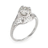Antique Deco 1ct Diamond Engagement Ring 14k White Gold Filigree Fine Vintage