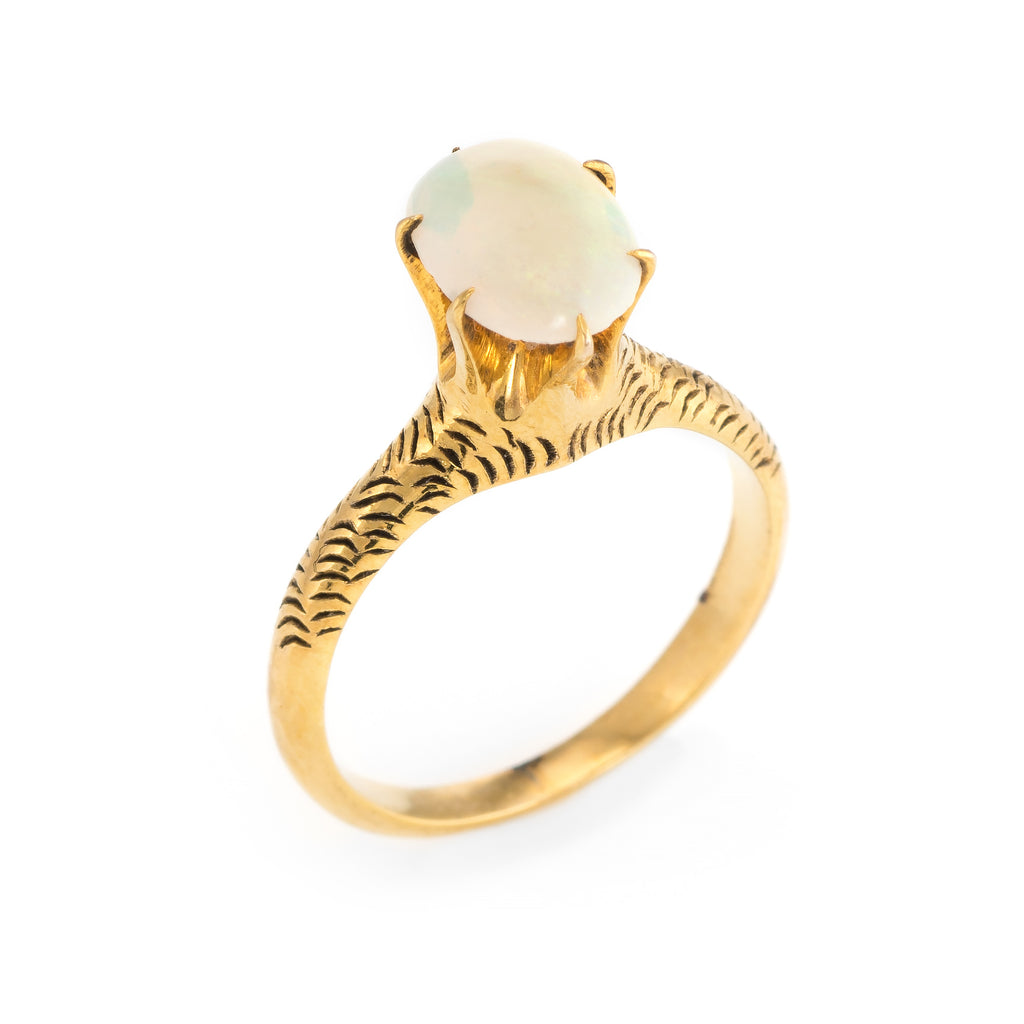 Antique Victorian Opal Ring Vintage 14k Yellow Gold Estate Jewelry Engagement