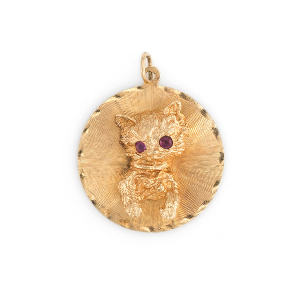 Vintage Cat Medallion Charm Vintage 14k Yellow Gold Estate Fine Animal Jewelry