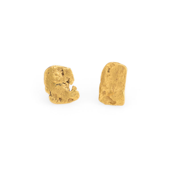 Natural Gold Nugget Earrings 24k Organic Stud Estate Fine Jewelry Heirloom 14k