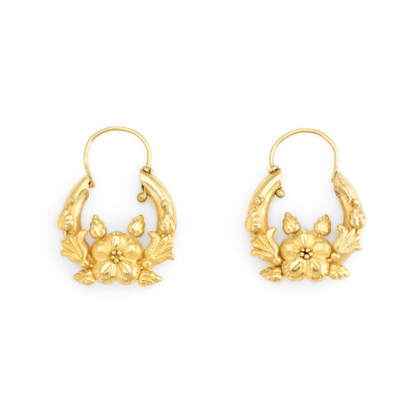 Vintage Flower Earrings 18k Yellow Gold Hoop Drops Estate Fine Jewelry