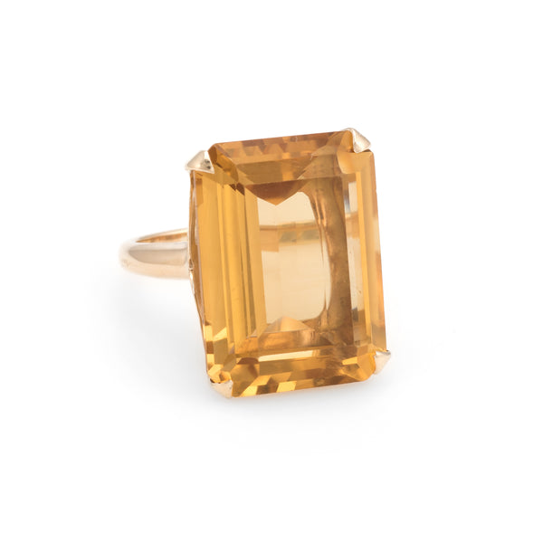 Vintage 25ct Citrine Ring Emerald Cut 14k Yellow Gold Estate Fine Jewelry 5.25