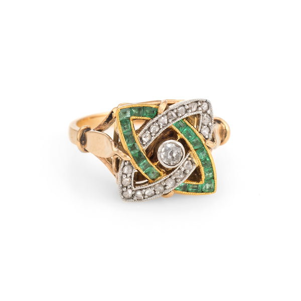 Antique Deco Emerald Diamond Ring Infinity 14k Gold Platinum Vintage Calibre
