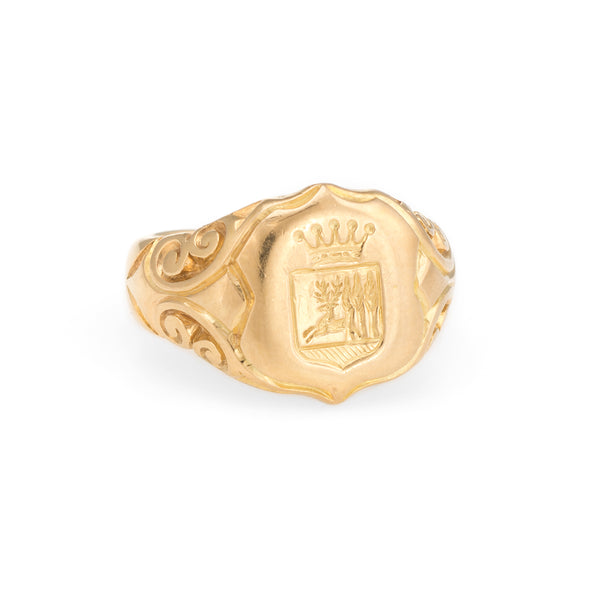 Antique Victorian Family Crest Signet Ring 18k Yellow Gold Vintage Mens Jewelry