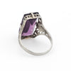 Antique Deco Amethyst Ring Vintage 10k White Gold Filigree Cocktail Jewelry 4.5