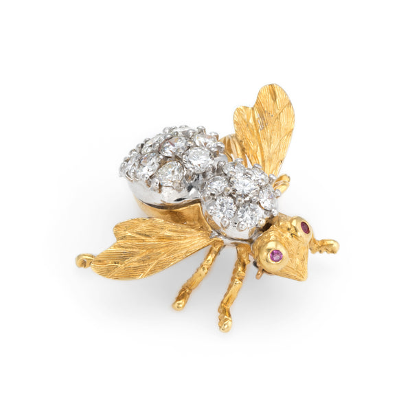 Herbert Rosenthal 2ct Diamond Bee Brooch Pin Vintage 18k Yellow Gold Jewelry