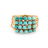 Vintage Harem Ring Turquoise 18k Yellow Gold 4 Bands Estate Fine Jewelry