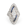 Antique Deco Diamond Sapphire Ring Platinum Navette Cocktail Vintage Jewelry 5.5