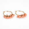 Vintage Coral Fringe Earrings Hoops 14k Yellow Gold Estate Fine Jewelry