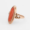 Antique Victorian Coral Ring Navette 14k Rose Gold Estate Fine Jewelry Cocktail