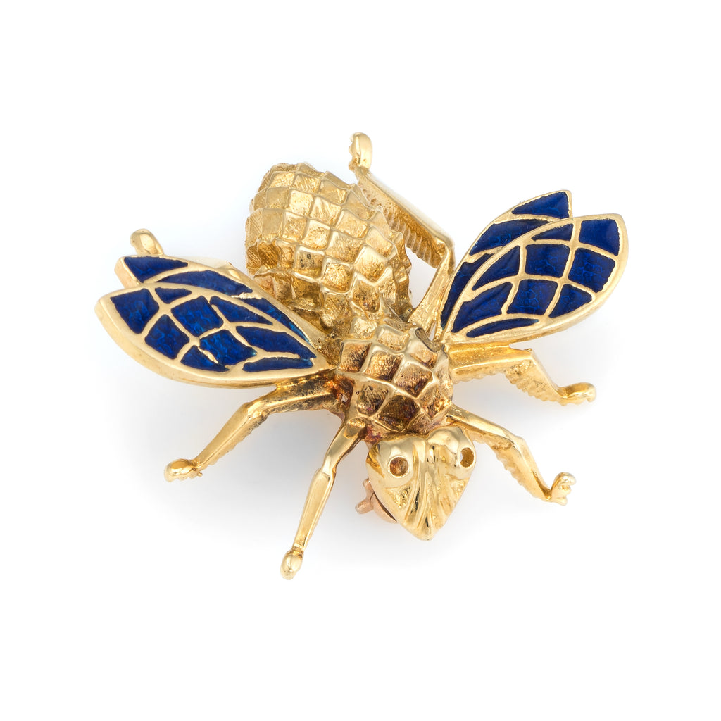 Vintage Bumble Bee Brooch Pin 14k Yellow Gold Blue Enamel Wings Estate Jewelry