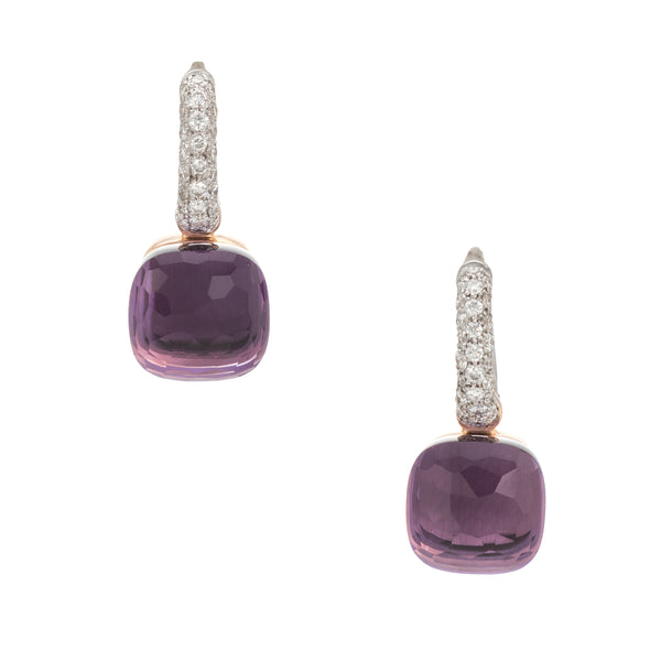 Pomellato Nudo Earrings Amethyst Diamond 18k Rose Gold Estate Fine Jewelry
