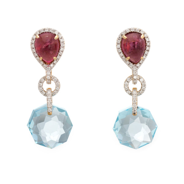 Estate Diamond Earrings Pink Tourmaline Blue Topaz 18k Yellow Gold Drop Jewelry