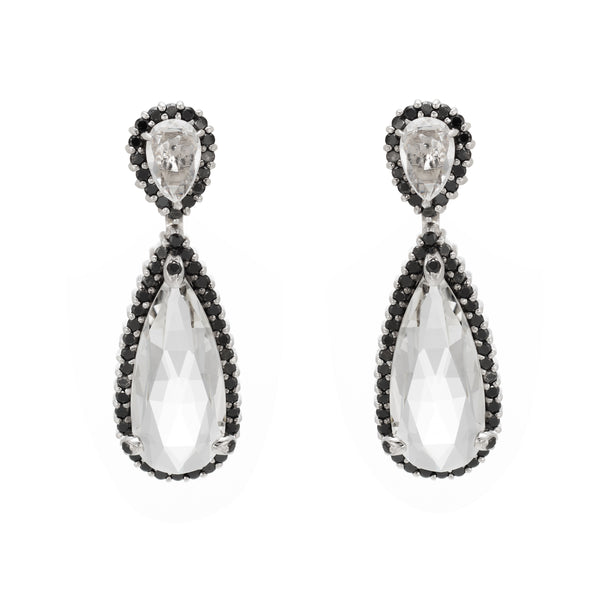 Estate Black Diamond White Quartz Earrings 18k White Gold Pear Rose Cut Jewelry
