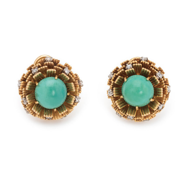 Vintage Cherny Turquoise Diamond Earrings 18k Yellow Gold Round Estate Jewelry