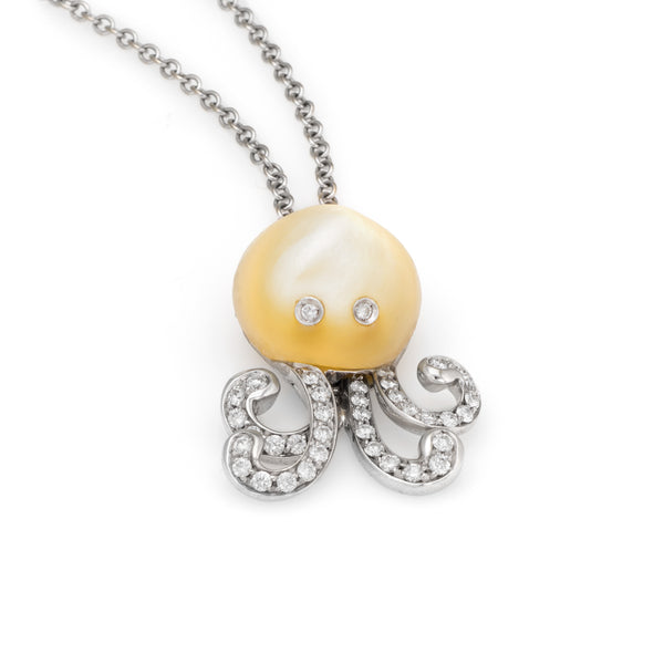 Vintage Octopus Necklace Diamond Mother of Pearl 18k White Gold Estate Jewelry