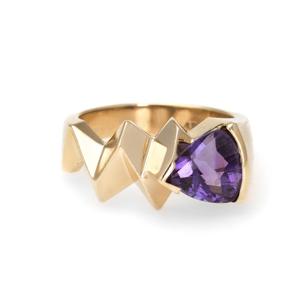 Vintage 80s Amethyst Ring 14k Yellow Gold Geometric Band Estate Fine Jewelry 6