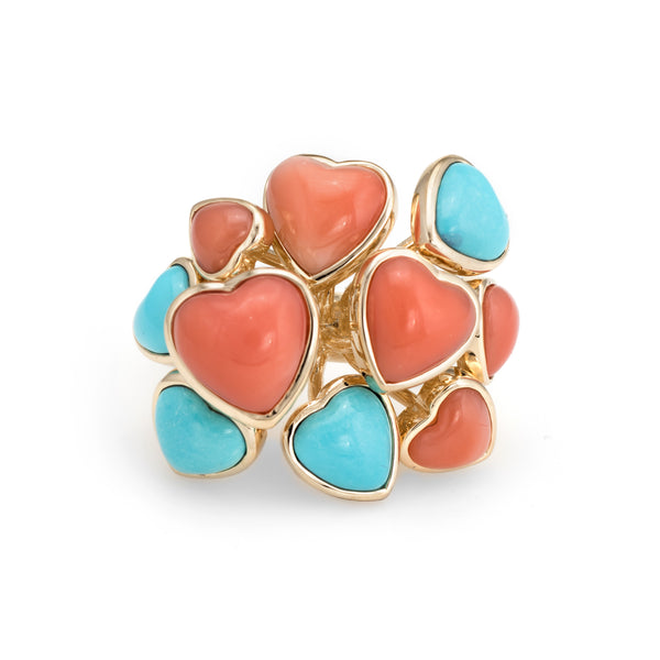Vintage Coral Turquoise Ring 14k Yellow Gold Cocktail Multi Hearts Jewelry