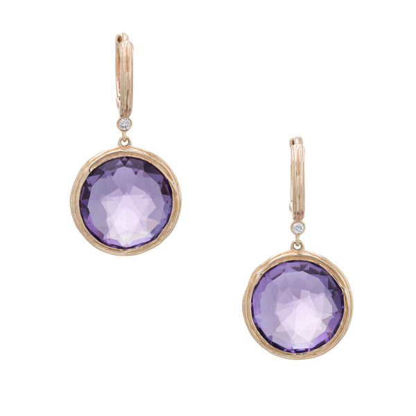 Estate Amethyst Earrings Vintage 14k Yellow Gold Round Drops Fine Jewelry