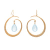 Estate Aquamarine Large Hoop Drop Earrings 18k Yellow Gold Hammered Jewelry