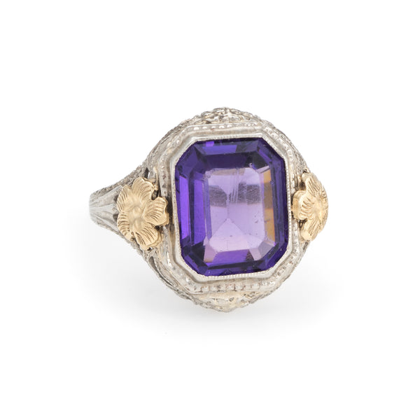 Antique Deco Filigree Ring Amethyst Glass 10k White Gold Vintage Fine Jewelry 5