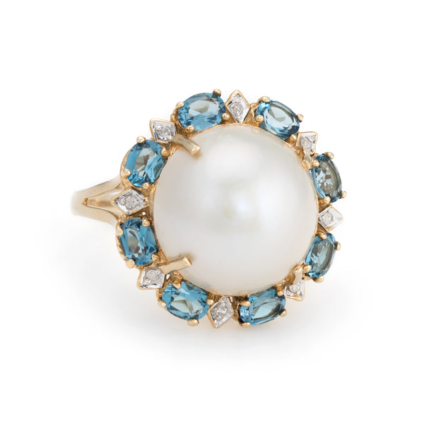 Estate Mabe Pearl Topaz Diamond Ring 14k Yellow Gold Round Cocktail Jewelry Fine