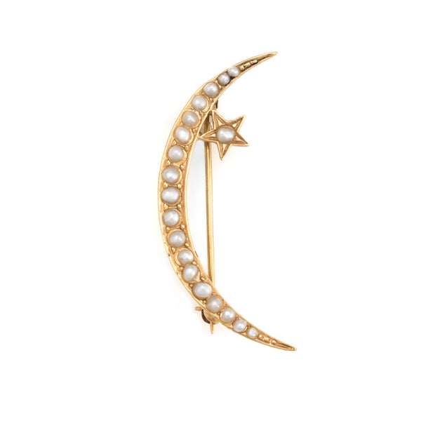 Antique Victorian Brooch Pin Crescent Moon Star 14k Yellow Gold Fine Vintage