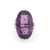 Antique Deco Amethyst Glass Ring Vintage 10k White Gold Filigree Large Oval Sz 5
