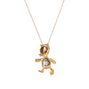 Vintage Duck Pendant Necklace 18k Gold Pearl Ruby Estate Fine Jewelry Bird