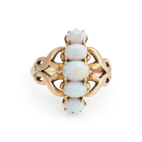 Antique Victorian 5 Opal Ring 14k Rose Gold Vintage Natural Gemstone Jewelry 5