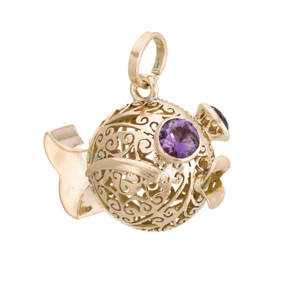 Vintage Fish Pendant Charm 14k Yellow Gold Amethyst Eyes Estate Fine Jewelry