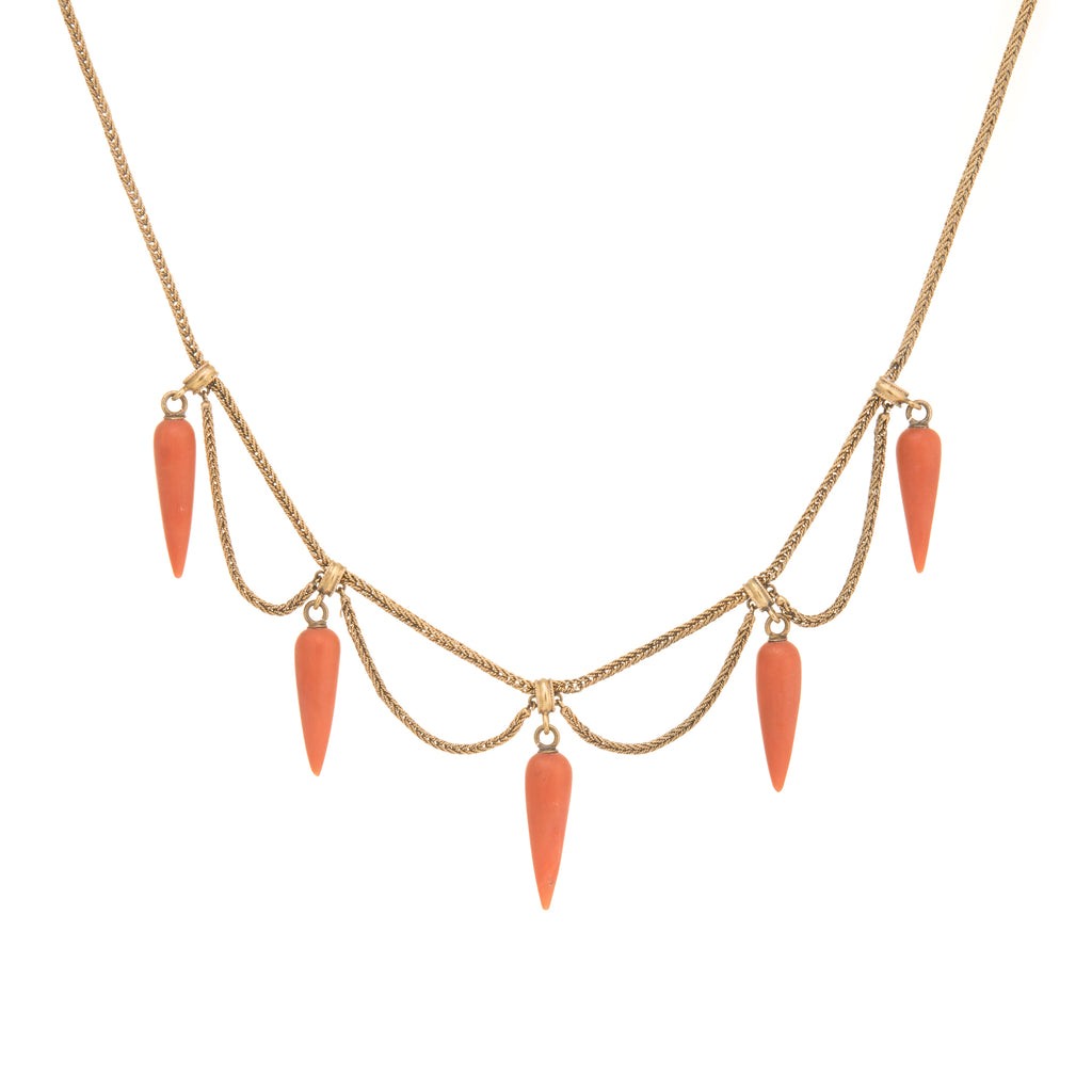 Antique Victorian Coral Necklace 14k Gold Fringe Choker Vintage Fine Jewelry Old