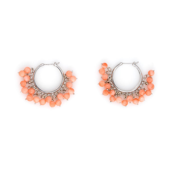 Estate Coral Fringe Earrings Hoops 3/4