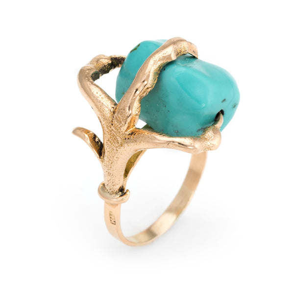 Vintage Dragon Claw Ring 14k Yellow Gold Turquoise Orb Estate Fine Jewelry 6.75