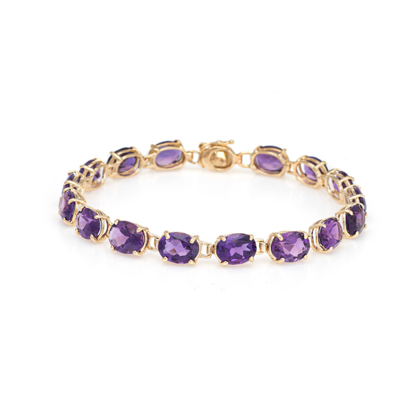 16ct Amethyst Tennis Bracelet Vintage 14k Yellow Gold 7 Inches Estate Jewelry