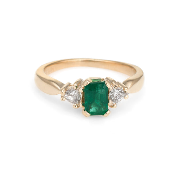Vintage Emerald Diamond Ring 14k Yellow Gold Trillion Engagement Estate Jewelry