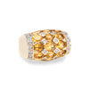Golden Topaz Diamond Dome Ring Vintage 14k Yellow Gold Sz 5 Estate Jewelry