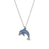 Dolphin Necklace Diamond Sapphire Estate 14k White Gold Fine Jewelry Marine Life