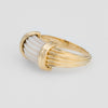 Vintage Fluted White Coral Ring 18k Yellow Gold Dome Band Estate Fine Jewelry