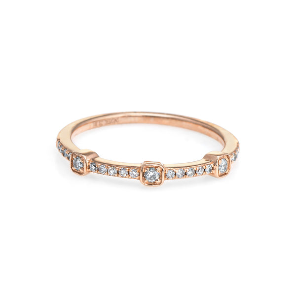 Diamond Stacking Ring Sz 7 14k Rose Gold Estate Fine Jewelry Wedding Band