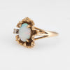 Vintage 70s Opal Ring 14k Yellow Gold Cocktail Freeform Estate Fine Jewelry 7.25