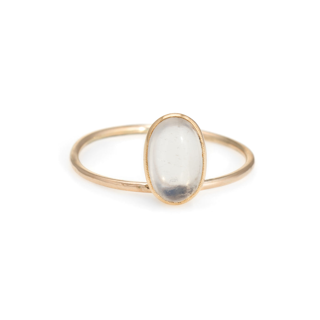 Antique Victorian Conversion Ring Moonstone 14k Yellow Gold Estate Fine Jewelry