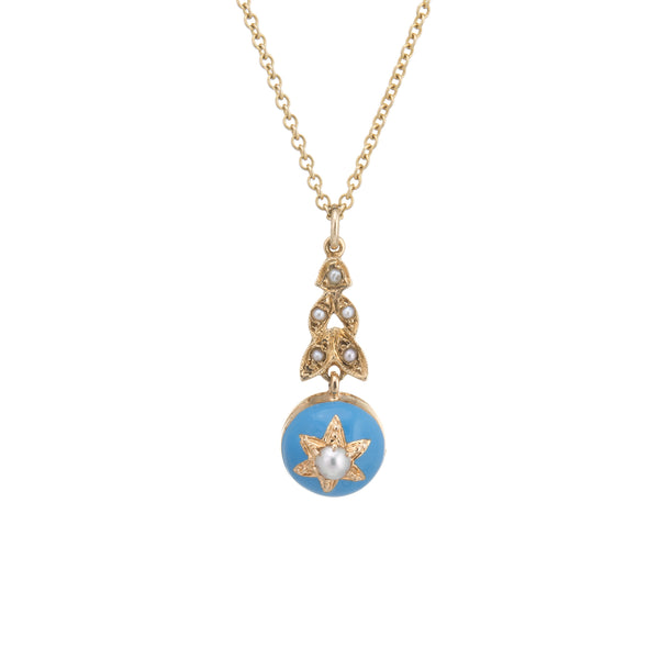 Vintage Pearl Blue Enamel Star Necklace 14k Yellow Gold Estate Fine Jewelry 18