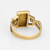 Vintage 70s 24k Gold Bar Ring Diamond 18k Gold Estate Cocktail Jewelry Ingot