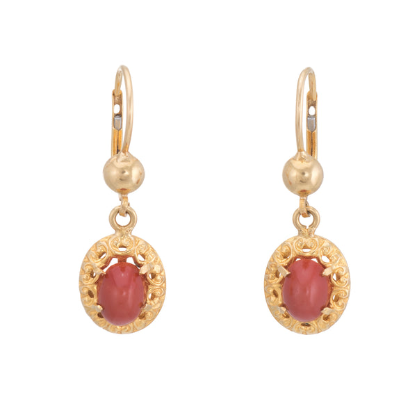 Vintage Red Coral Drop Earrings 18k Yellow Gold Oval Estate Fine Jewelry