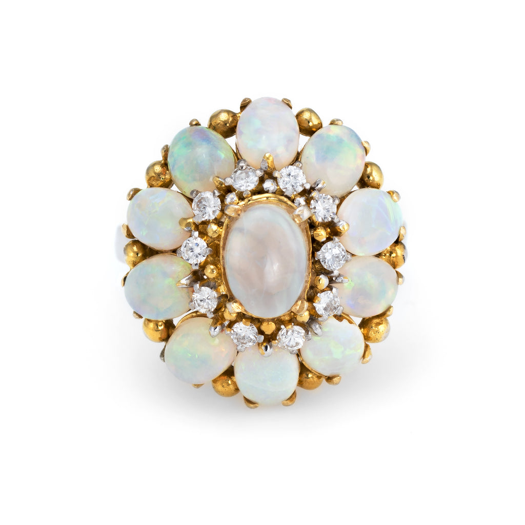Vintage H Stern Opal Diamond Ring 18k Yellow Gold Cocktail Jewelry Estate Fine