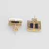 Jupiter Diamond Earrings Vintage 14k Yellow Gold Square Stud Celestial Planets