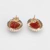 Red Coral Seed Pearl Earrings Oval Stud 14k Yellow Gold Estate Fine Jewelry